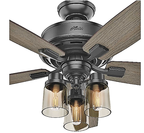 Brushed Nickel And Matte Black Hunter 5 Blade Ceiling Fan Home Interiors And Beyond